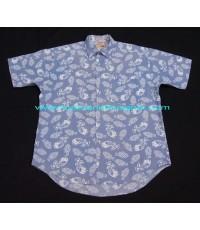 เสื้อเชิ้ตวินเทจ Vintage 80s The Fox Collection Men Shirt เสื้อมือสองแขนสั้นบุรุษ Sz. L