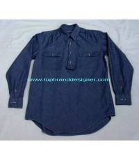 เสื้อยีนส์บางผ้าแชมเบรย์ ROBERT STOCK Blue Chambray work shirt เวิร์คเชิ้ตแบรนด์เนมมือสองของแท้ L