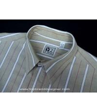 เสื้อเวอร์ซาเช่ Versace V2 Oxford Men Used Designer Shirt USA Made Striped XL