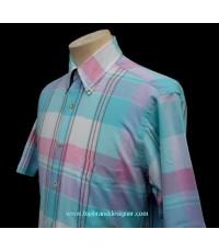 เสื้อวินเทจผ้ามาดราส Vintage 70s SERO Madras Plaid Men Shirt M