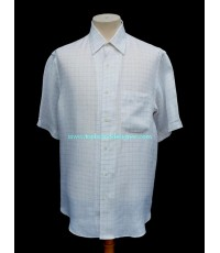 เสื้อผ้าลินิน Brioni Italy Linen Men Used Designer Shirt Check 3