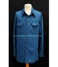 เสื้อยีนส์ลีวายส์ Vtg 70\'s LEVI\'S Panatela Denim Men Work Shirt XL