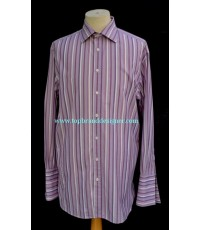 เสื้อทำงานแขนคัฟลิ้งค์ Thomas Pink French Cuff Men Dress Shirt Used Designer Stripes 16.5-35