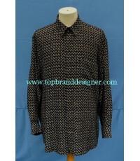 เสื้อผ้าเรยอน ANGELO MAZZETTI Rayon Italy Men Used Designer Shirt Hashtag Print L