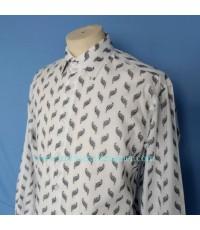 เสื้อเชิ้ต Mila Schon Men Used Designer Shirt Leaf Patterned Sz 100