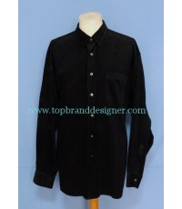 เสื้ออาร์มานี่ Armani Men Used Designer Shirt Black Corduroy XL