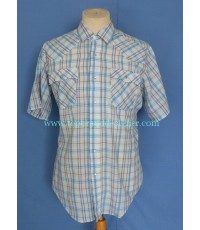 เสื้อกระดุมมุก Vtg 80s Levi\'s Pearl Snap Men Western Shirt Plaid L