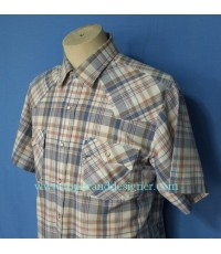 เสื้อกระดุมมุก Vtg 80s Levi\'s Pearl Snap Men Western Shirt Plaid L M