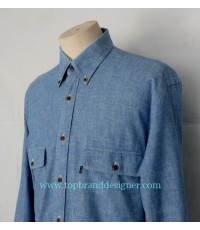 เสื้อผ้าแชมเบรย์ C O S Chambray Men Used Designer Shirt Light Blue M