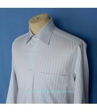 เสื้อแบรนด์เนม LANVIN Paris Men Dress Shirt Used Designer Stripes 50