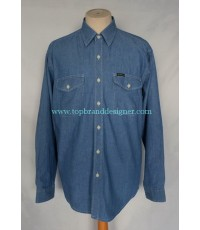 เสื้อผ้าแชมเบรย์ OshKosh Chambray Men Used Designer Shirt Light Blue L