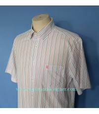 เสื้อ DAKS Mens Used Designer Shirt Seersucker Stripes Sz M