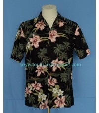 เสื้อฮาวาย RJC Aloha Hawaiian Shirt Orchid Coconut Tree Printed S