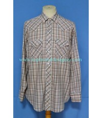 เสื้อกระดุมมุก Vintage Sears pearl snap Men Western Shirt Plaid L
