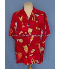 เสื้อฮาวายผ้าเรยอง PARADISE FOUND Rayon Aloha Hawaiian Shirt Cocktails Printed L