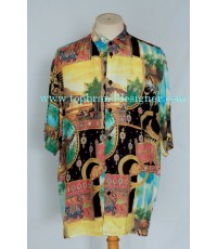 เสื้อเชิ้ตผ้าเรยอง MADAME ZAZA OF MARSEILLE France Rayon Men Used Designer Shirt India Symbols  L