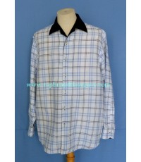 เสื้อผ้าลินิน Barron Co. Italy Made Linen Men Used Designer Shirt Plaid L