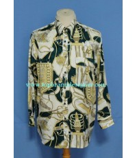 เสื้อผ้าไหม Eagle Panther Silk Tassel Print Men Used Designer Shirt M