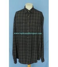 เสื้อผ้าเรยอน JOSEPH ABBOUD Italy Rayon Men Used Designer Shirt Plaid L ไซส์ใหญ่พิเศษ