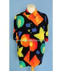 เสื้อเชิ้ตผ้าเรยอง FARM FIRESIDE Italy Rayon Men Shirt Geometric Print M