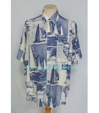 เสื้อเชิ้ตผ้าเรยอง OK d by VOLPATO Italy Rayon Men Shirt Sailboats Print L
