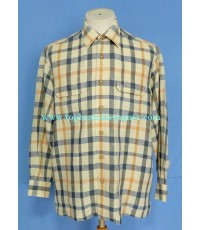 เสื้อผ้าลินิน DAKS Linen Men Used Designer Shirt Plaid M