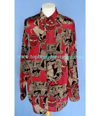 เสื้อผ้าเรยอง LE GARAGE France Rayon Men Used Designer Shirt Greek Printed L