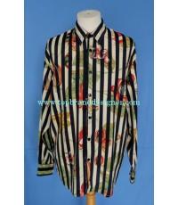 เสื้อผ้าเรยอง LE GARAGE France Rayon Men Used Designer Shirt Floral Printed M