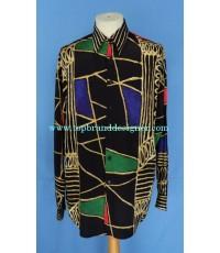 เสื้อผ้าเรยอง LE GARAGE France Rayon Men Used Designer Shirt Geometric Printed S