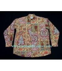 เสื้อผ้าเรยอง LE GARAGE France Men Used Designer Shirt Victorian Paisley Printed S