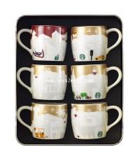 STARBUCKS : Taiwan Starbucks 2014 City Mug 3oz GOLD RELIEF SET [CHRISTMAS LIMITED EDITION] [1]
