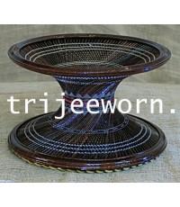 ขาบาตร ไม้ลาน ถักลายดอกบัว Fan Palmwood Alms Bowl Stand woven with Lotus Thread