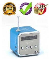 ลำโพงพกพา มีวิทยุ FM - ฟัง MP3 ผ่าน SD Card ได้ ขนาดน่ารัก สีฟ้าเข้ม