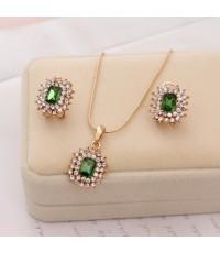 ต่างหู ตุ้มหู จี้ สร้อยคอ ชุดเครื่องประดับ Jewelry Gift Set - The Emerald 0950