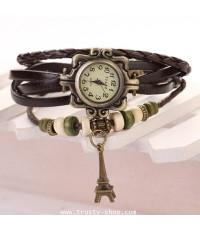 กำไล นาฬิกาข้อมือ สายหนังถักไตล์วินเทจ Eiffel 1759 - สีกาแฟ