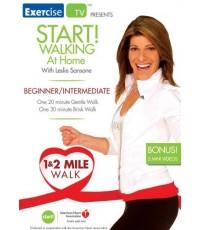 Leslie Sansone : Start! Walking at Home - Beginner/Intermediate 1-2 Mile Walk (DVD 1 แผ่น)