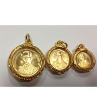 เหรียญกษาปณ์ที่ระลึกเนื่องในมหามงคลสมัยพระราชพิธีรัชมังคลาภิเษก ชุดทองคำ ๓ เหรียญ พร้อมเลี่ยมทองคำ