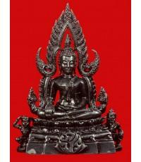 พระพุทธชินราช ลอยองค์ หน้าตัก 1/2 นิ้ว  เนื้อเงินรมดำ ประดิษฐาน ภปร. บนผ้าทิพย์ (เช่าบูชาแล้ว)