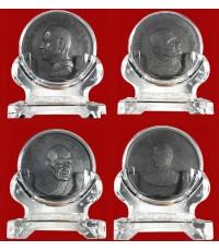 ชุด 4 เหรียญ ทรงผนวช สมเด็จพระเจ้าอยู่หัว ร.10 เหรียญหลวงปู่ฝั้น หลวงปู่ขาว  หลวงปู่แหวน 7 ซ.ม พร้อม