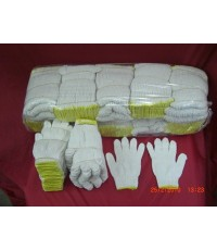 ถุงมือผ้าถักผ้าดิบขอบเหลือง