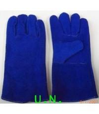 ถุงมือหนังท้องสีน้ำเงินมีซับรอบข้างในยาว13นิ้ว