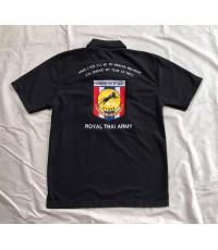 เสื้อ Polo สีดำ ปักอาร์มกองพลเสือดำ