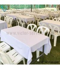 เช่าโต๊ะ - โต๊ะเหลี่ยมหน้าขาวคลุมผ้าขาว(แบบธรรมดา)