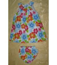 ชุดกระโปรงลายดอกไม้+กางเกงใน ขนาด 2-3 ขวบ