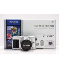 (ขายแล้ว)Olympus PEN Mini / E-PM1(สินค้ามือสอง) บอดี้ สีเงิน สภาพสวย มีกล่อง อุปกรณ์ครบกล่อง