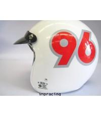 หมวกกันน๊อค ฺBM รุ่น ALfA ลาย No. 96 ขาว แดง