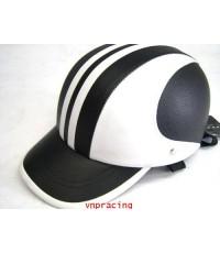 หมวกกันน๊อค nexttex หุ้มหนัง ขาว-ดำ ลาย 2
