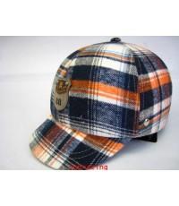 หมวกกันน๊อคมีแก๊ป nexttex ลายสก๊อต ส้ม-ขาว-ดำ(เลิกผลิต)