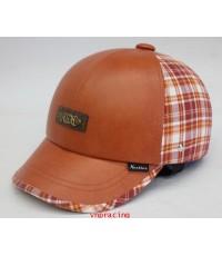 หมวกกันน๊อค nexttex หนังสลับผ้าลายสก๊อต ส้มขาว 2012 (เลิกผลิต)