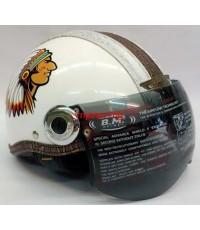 หมวกกันน็อค BM. รุ่น NEW MIO สีขาว ลายอินเดียแดง (เลิกผลิต)